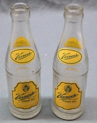 2 Small ACL Vernor's Soda Bottles- Peoria Ill