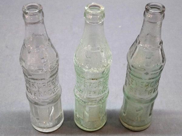 Lot of 3 Evergreen Soda Bottles- Bloomington, Ill