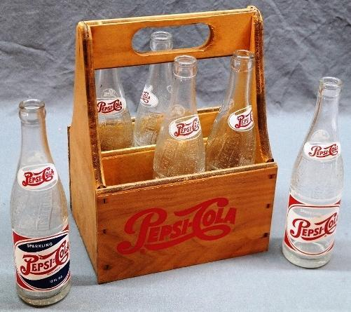 Anniversary Pepsi-Cola Wood Bottle Carrier w/6 1950s ACL Bottles