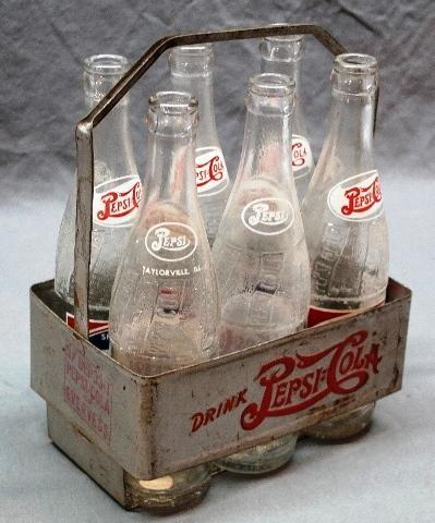 Embossed Metal Pepsi-Cola 6pk Carrier w/ Bottles
