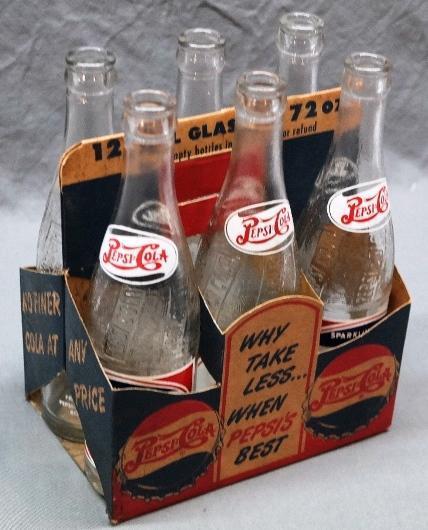 Cardboard 1950s Coca-Cola 6pk Bottle Carrier w/Bottles