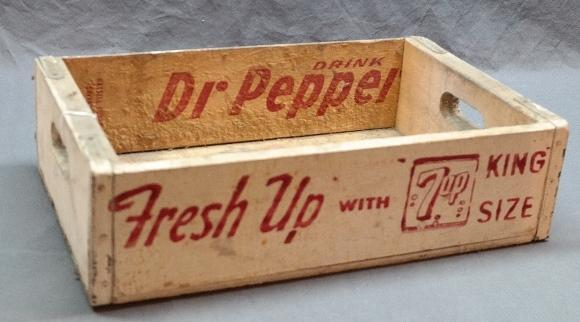 Fresh Up w/7-UP Wooden Tray w/Dr. Pepper Inside