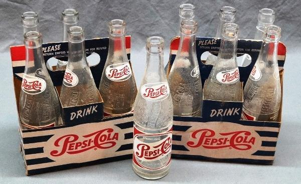 Lot of 2 1950s Pepsi-Cola Striped Cardboard Carriers w/Bottles.