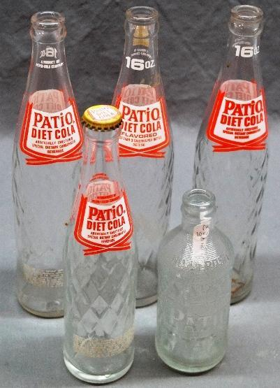 Lot of 5 PATIO Diet Cola Bottles.