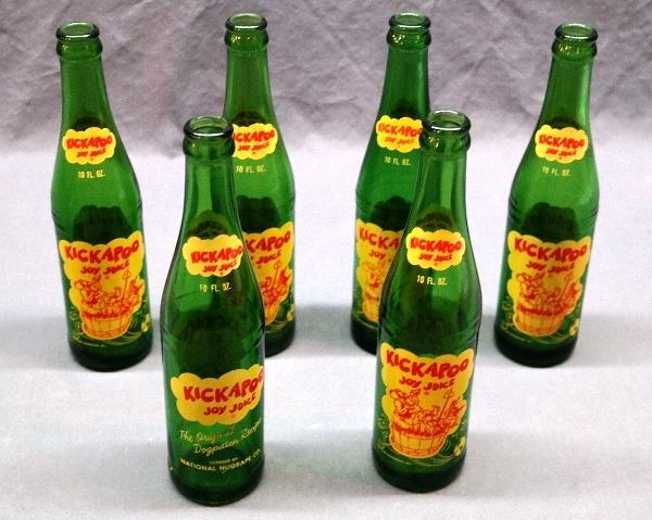 Lot of 6 KICKAPOO Joy Juice Green Glass Bottles