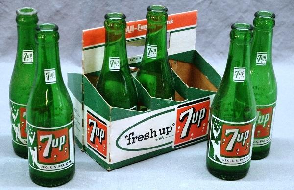 Six 7-UP Bottles w/Girl Logo in Fresh-Up Cardboard Case