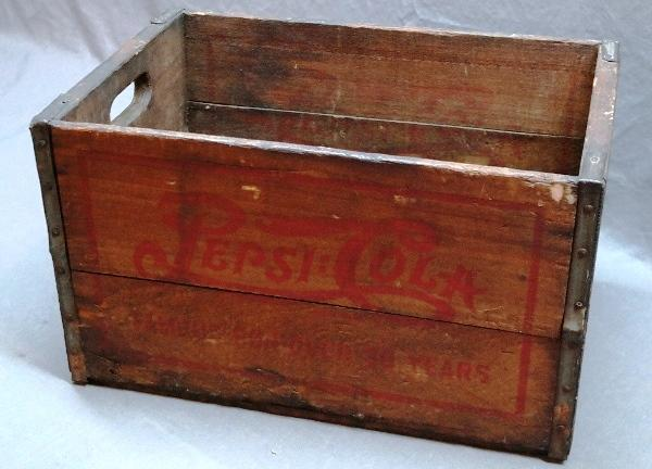 Early Wooden Double Dot Pepsi Crate.