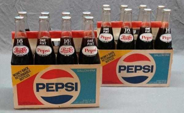 Lot of 2 Eight Pk 16oz Pepsi Bottles w/Cardboard carriers