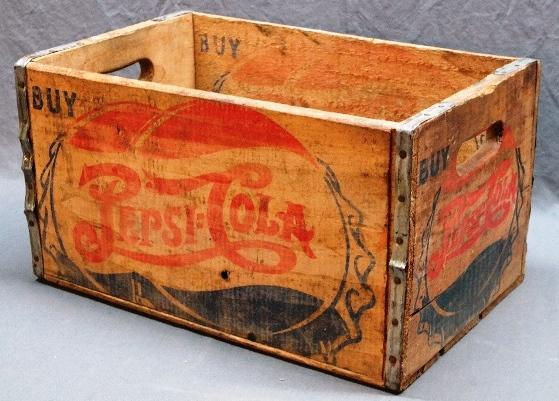 Early Double Dot PEPSI:COLA Wood Crate w/Cap Graphics.