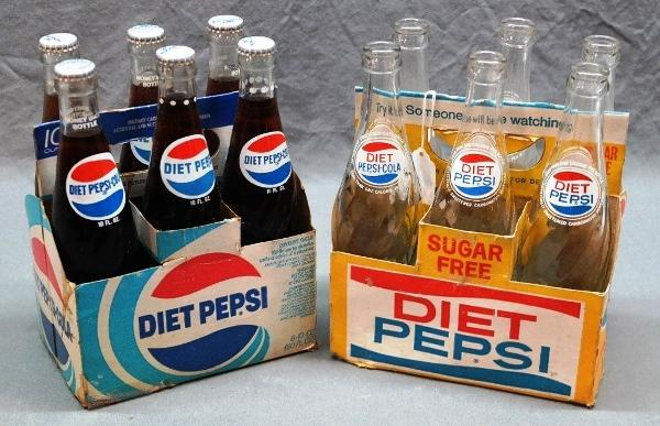 Lot of 2 Different DIET PEPSI Cardboard Carriers w/Bottles