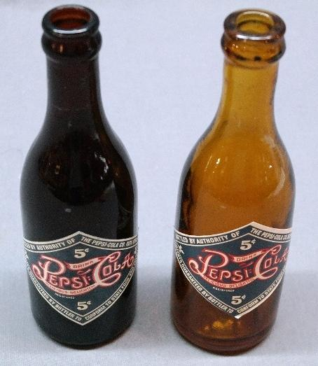 Lot of 2 75th Anniversary Amber PEPSI-Cola Bottles