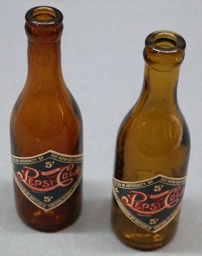 Lot of 2 75th Anniversary Light Amber PEPSI-Cola Bottles