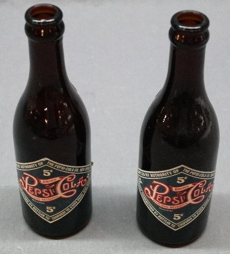 Lot of 2 75th Anniversary Dark Amber PEPSI-Cola Bottles