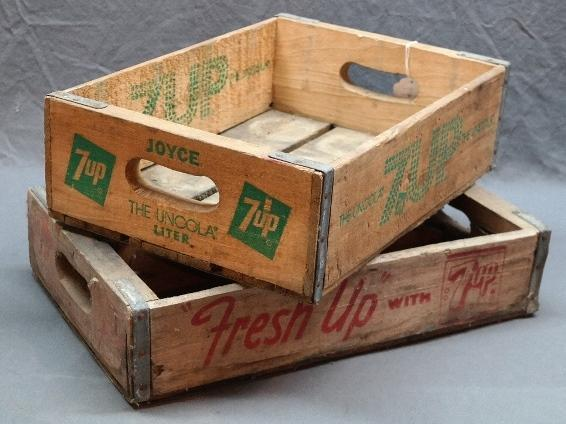 Lot of 2 7-UP Wooden Bottle Carrier Crate/Trays