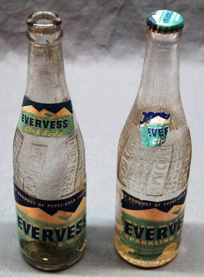 Lot of 2 Evervess Pepsi-Cola Bottles w/Paper Labels-1940s