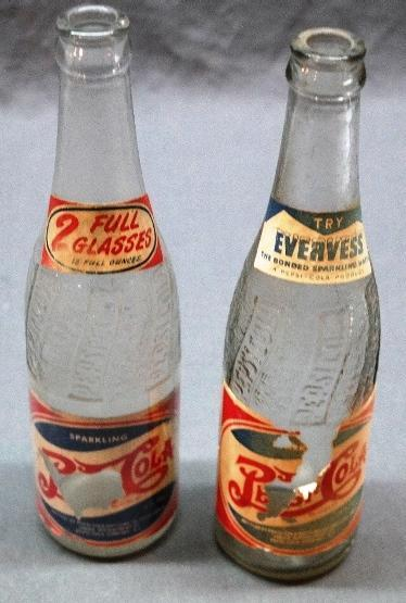 Lot of 2 1950s PEPSI-COLA Bottles w/Paper labels-Evervess Top + 2 Glasses Full