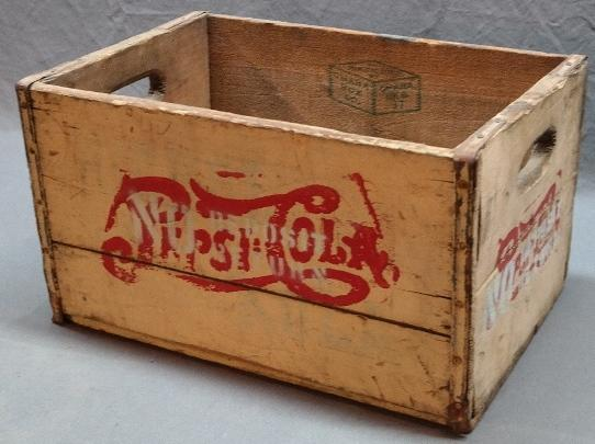 White PEPSI-COLA Wooden Crate w/No Deposit Paint Over