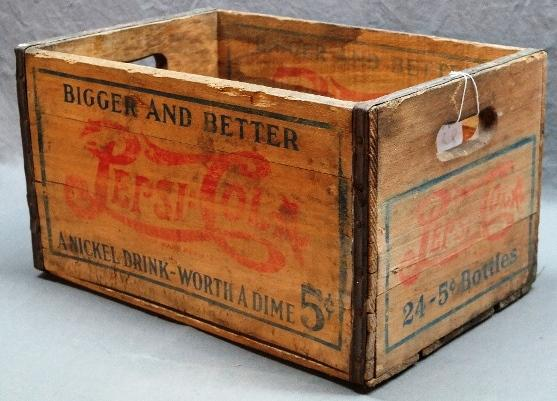 Early 5 Cent Pepsi-Cola BIGGER & BETTER Wooden Crate