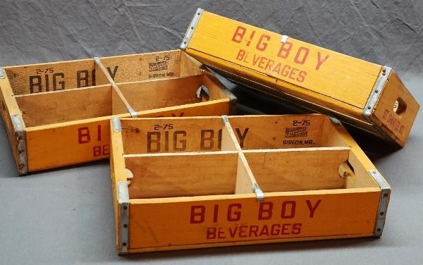 Lot of 3 BIG BOY Beverages Wooden Crates from 1970s