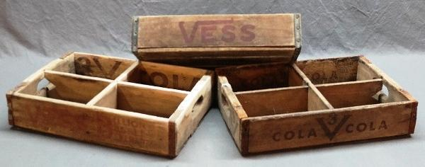 Lot of 3 Different VESS/V3 Wood Soda Crates/Trays