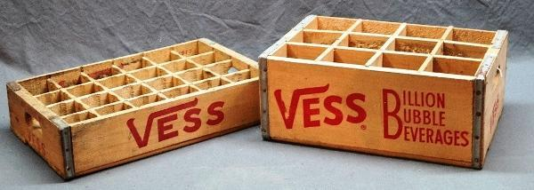 Lot of 2 VESS Soda Wooden Crates