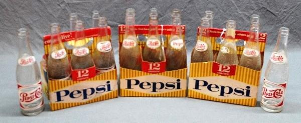 Lot of 3 Cardboard PEPSI-Cola Yellow Striped Carriers w/Bottles