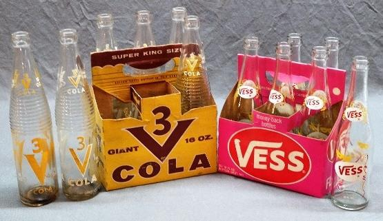 Lot of 2 VESS/3V Soda Pop Bottle Carriers w/Bottles