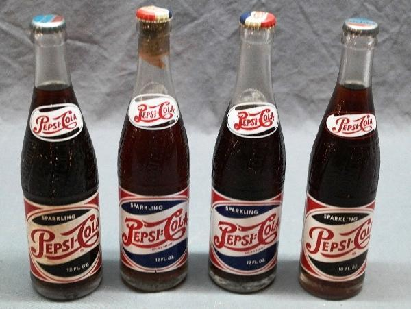 Lot of 5 Full 1950s PEPSI-COLA Bottles