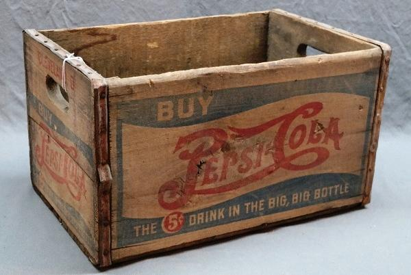 Early Double Dot PEPSI:COLA Wood Crate-5 Cent