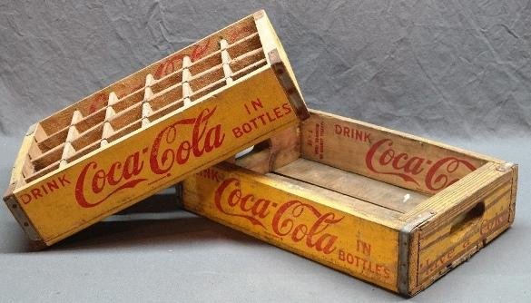 Lot of 2 COCA-COLA Wood Crate Trays