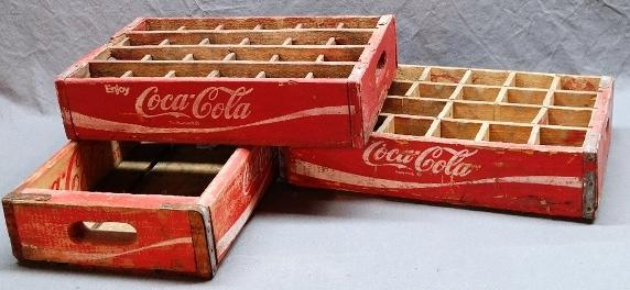 Lot of 3 Red & White COCA-COLA Wood Crate Trays