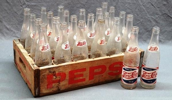 Wooden PEPSI-COLA Crate Tray w/24 PEPSI Bottles