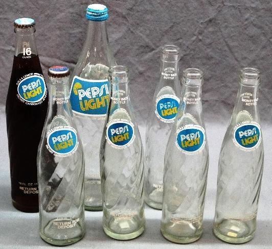 Lot of 7 PEPSI LIGHT Bottles