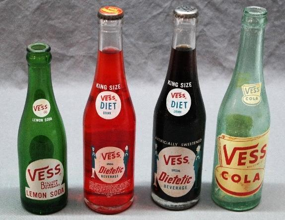 Lot of 4 VESS Soda Bottles-2 ACL's are Full.