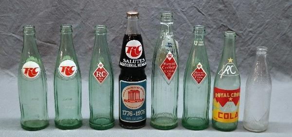 Lot of 8 RC/ROYAL CROWN COLA Bottles