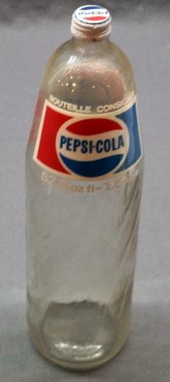 Scarce 1.5 Litre Glass ACL Pepsi Bottle w/Pasteover label.