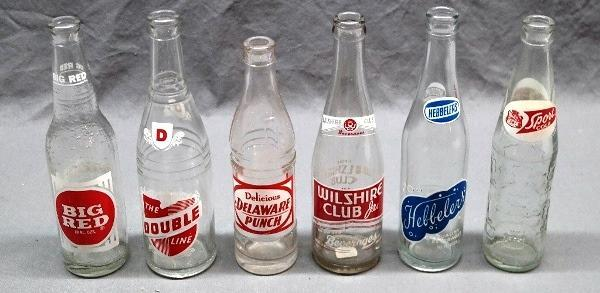 Lot of 6 ACL 1950s Soda Pop Bottles-Double Line, Sport, Big Red, Wilshire, Deleware Punch, Hebblers