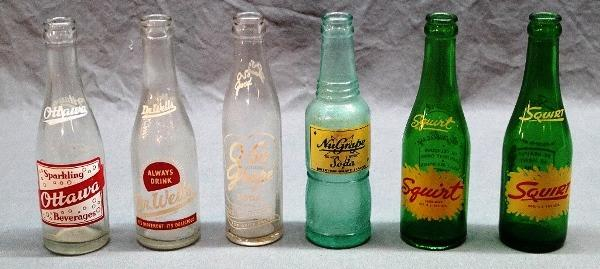 Lot of 6 ACL Early Soda Pop Bottles-Squirt, Ottawa, Nu-Grape, Dr Wells, O-SO