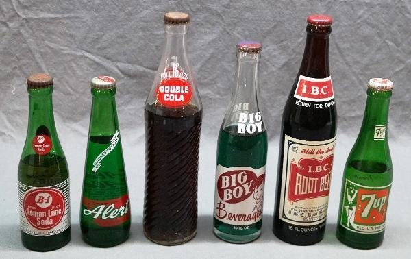 Lot of 6 Early Soda Pop Bottles-Union, Evergreen, Mercer, Squeeze, Pluto