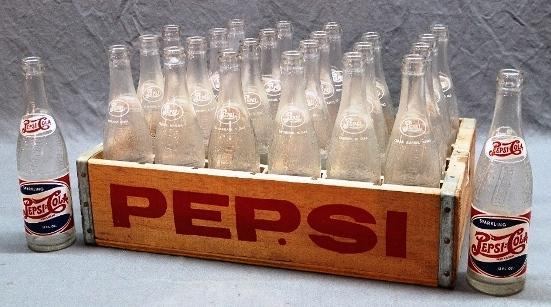 24 1950s Pepsi Bottles in an A.D. Huesing Wood Pepsi Crate