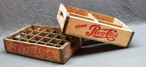 Lot of 2 Different Pepsi-Cola Wood Crate Trays