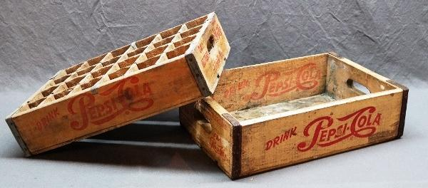 Lot of 2 Different Double Dot Pepsi-Cola Wooden Crates