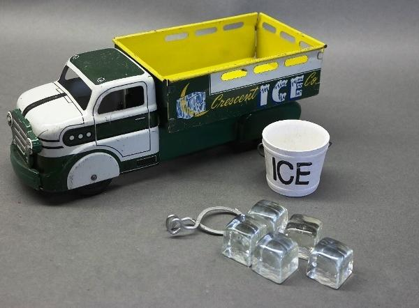 Marx Crescent Ice Delivery Truck- with Tongs, Cubes and Bucket, all original