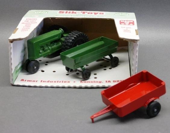 Slik Toys Oliver Tractor and Wagon in Box with Red Trailer