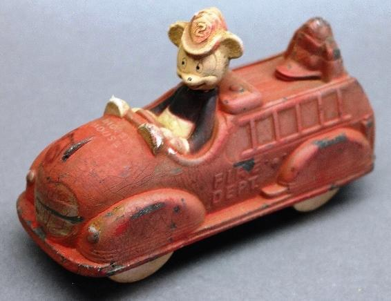 Sun Rubber Mickey Mouse Fire Dept Car- Original