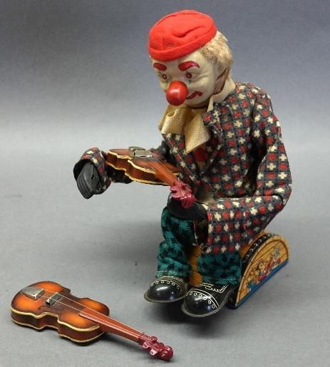 Battery Operated Happy Clown Violin Player by Alps- Japan Tin Litho