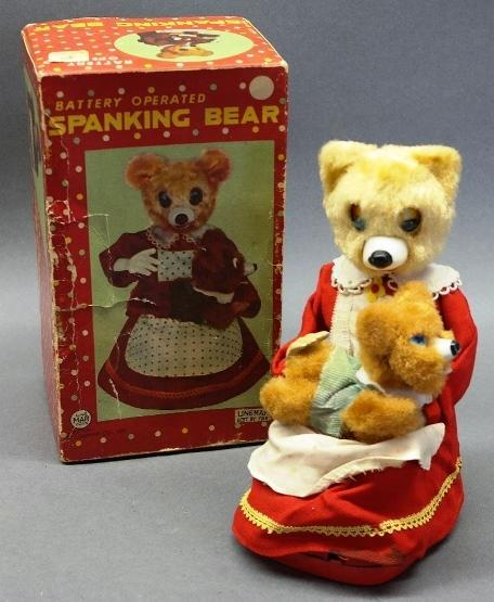 Battery Operated Line Mar Spanking Bear Toy in Original Box-1950s