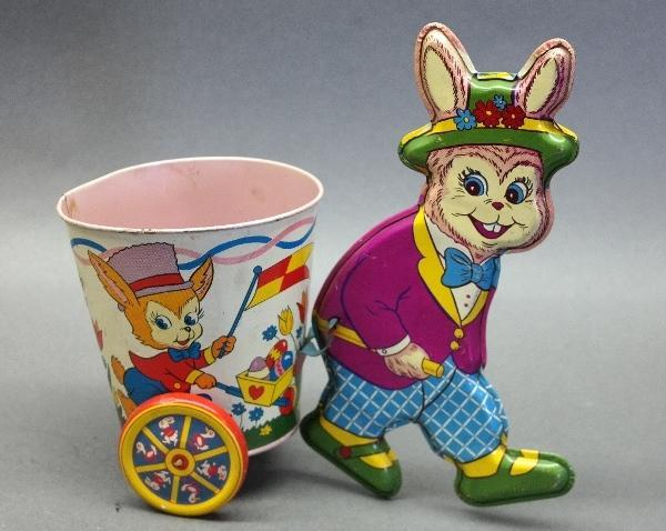 Rare Pink Shirt Ohio Art Easter Bunny with Cart- 1956