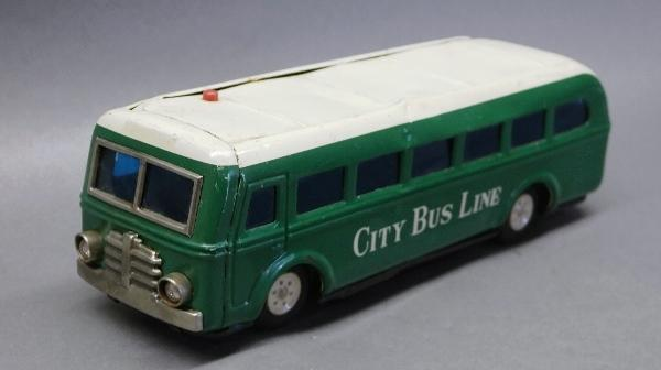Battery Operated City Bus Line by GBC- Electric Lights, Tin Litho