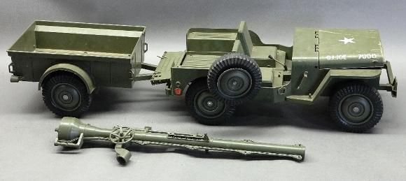 Battery Operated 1960s GI Joe 7000 Combat Jeep + Trailer and 106mm Launcher